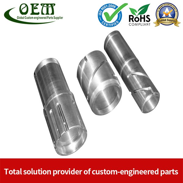 Free-cutting Carbon Steel CNC Turning Parts - Threading Connector for Electronic Device